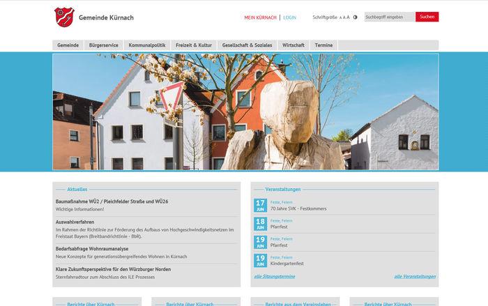 Titelbild zu Barrierefrei und attraktiv im Netz: Relaunch Gemeinde Kürnach<br><br>www.kuernach.de