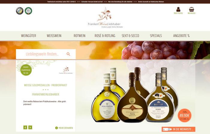 Titelbild zu Relaunch Frankenweinliebhaber.de:<br><br>Facelift f&uuml;r eine der gr&ouml;&szlig;ten nationalen E-Commerce Plattformen f&uuml;r Frankenwein